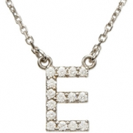14K White Gold E Diamond Necklace