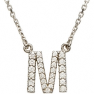 14K White Gold M Diamond Necklace