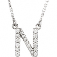 14K White Gold N Diamond Necklace
