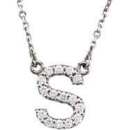 14K White Gold S Diamond Necklace