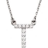 14K White Gold T Diamond Necklace
