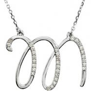 Sterling Silver M Diamond Necklace