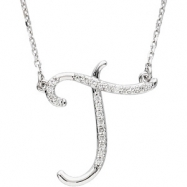 Sterling Silver T Diamond Necklace