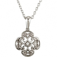 Sterling Silver Diamond Necklace 18 Inch