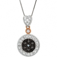 14K Rose Gold 18.00 Inch Two Tone Black & White Diamond Necklace