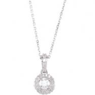 """14K White Gold Diamond Entourage Necklace 18"""""""""""