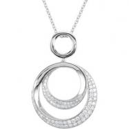 14K White Gold 18 Inch Diamond Necklace