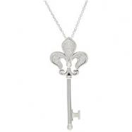 """Sterling Silver 1/5 CT TW 18"""" Dia Fleur De Lis Key Necklace"""