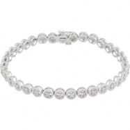 14K White Gold 07.00 Inch 1 Diamond Bracelet