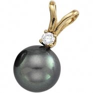 14K Yellow Gold Black Pearl And Diamond Pendant