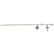 Sterling Silver First Holy Communion With Pearls Rosary Bracelet