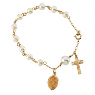 14K Yellow Gold Miraculous Medal With Pearls Rosary Bracelet