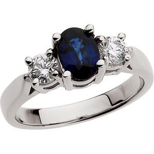 Platinum Genuine Sapphire And Diamond Ring. Price: $3507.61
