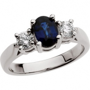 Platinum Genuine Sapphire And Diamond Ring