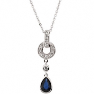 14K White Gold 6x4 Genuine Blue Sapphire And Diamond Necklace