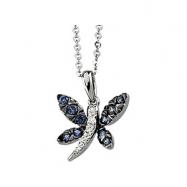 14K White Gold 14kw Black Rhodium Plated Genuine Blue Sapphire And Diamond Necklace