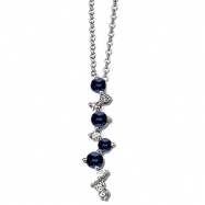 14K White Gold Genuine Sapphire And Diamond Necklace