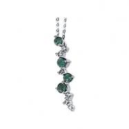 14K White Gold Genuine Emerald And Diamond Necklace