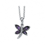 14K White Gold 6x3 5x2.5 .02 Amethyst And Diamond Necklace