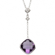 14K White Gold Genuine Checkerboard Amethyst And Diamond Necklace
