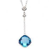 14K White Gold Genuine Checkerboard Swiss Blue Topaz And Diamond Necklace