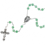 Sterling Silver Green Jade Rosary