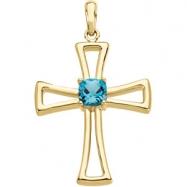 14K Yellow Gold X Genuine Swiss Blue Topaz Cross