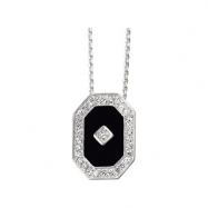 Sterling Silver With 18 Inch Chain Genuine Onyx And Cubic Zirconia Necklace