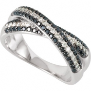 14K Gold Black & White Diamond Anniversary Band