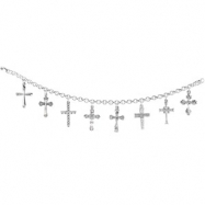 Sterling Silver 07.50 Inch Crosses Bracelet