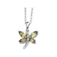 14K White Gold 6x3 5x2.5 And Diamond Peridot & .02 Ctw Dia Necklace