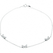 Sterling Silver 10.00 Inch Anklet With Butterflies