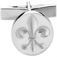 14K White Gold Cuff Link Metal Fashion Fleur De Lis Cufflink