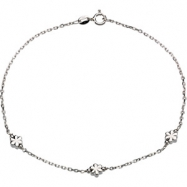 Sterling Silver 10.00 Inch Anklet With Flowers