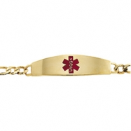 14K Yellow Gold 8 Inch Gents Medical Id Bracelet Red Enamel