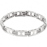 14K White Gold Gents Diamond Bracelet