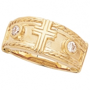 14K Yellow Gold Cross Ring With Diamond