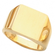 14K Yellow Gold Gents Solid Signet Ring With Brush Finished Top