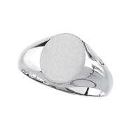 14K White Gold Oval Signet Ring