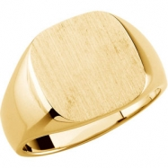 10K Yellow Gold Gents Solid Signet Ring With Brush Finished Top