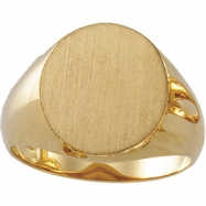 10K Yellow 16.00X14.00 MM Gents Signet Ring W/brush Fini