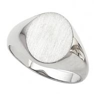 14K White 18.00X16.00 MM Gents Signet Ring W/brush Fini
