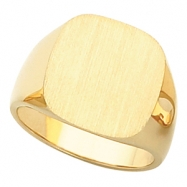 14K Yellow Gold Gents Signet Ring With Brush Finished Top