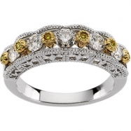 14K White Yellow Gold Two Tone Bridal Anniversary Band