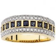 14K Yellow Gold Rhodium Bridal Genuine Sapphire Diamond Anniversary Band