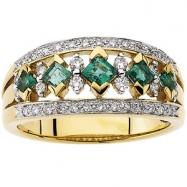 14K Yellow Gold Rhodium Bridal Genuine Emerald Diamond Anniversary Band