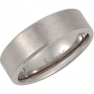 Titanium 7mm Satin And Polished Bevelled Band