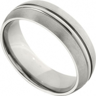 Titanium 7mm Satin And Grooved Band