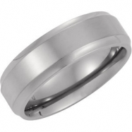 Titanium Satin And Polished Ridged Band