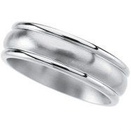 Titanium 7mm Satin And Polished Slighlty Grooved Slightly Domed Band